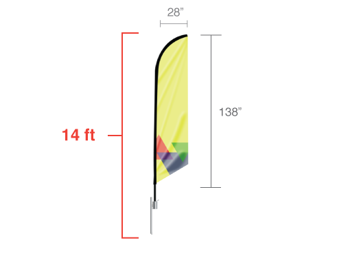 Feather Angled Flag - Large / Double Side
