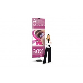 """Double Graphics silver Banner Stand 36"""" x 118"""