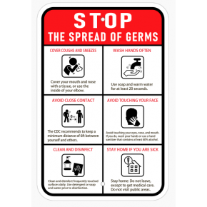 Stop the Spread of Germs Sign- Vertical
